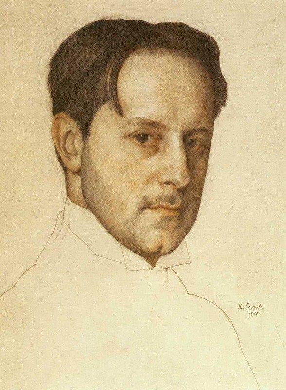 Борис Кустодиев. Портрет художника М.В.Добужинского.