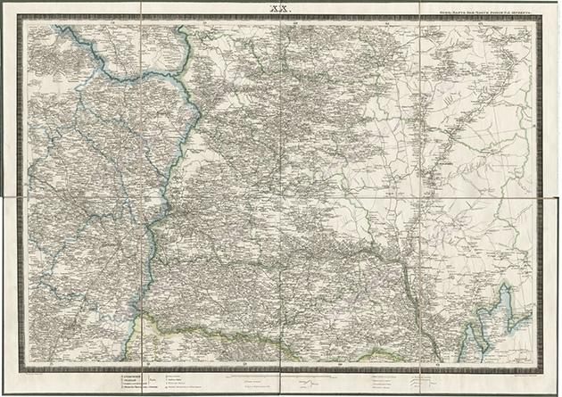 Карта Костромской губернии 1826 год. Составитель Ф.Ф. Шуберт