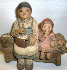 Е. В. Честняков. Бабушка с внучкой. 1-ая пол. XX века.